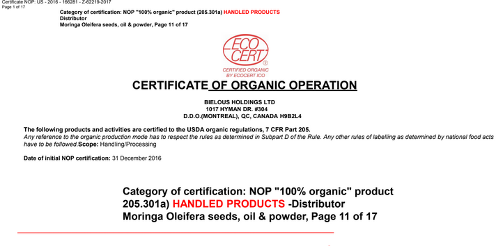 certificate of organic operation